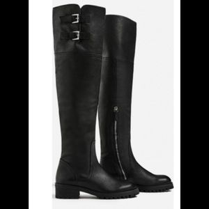 Zara Black Leather Over The Knee Size 6 Flag Boots